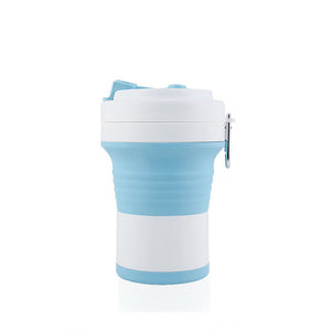 550ml foldable silicone coffee cup in blue/white color
