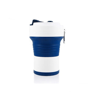 550ml foldable silicone coffee cup in  dark blue/white color