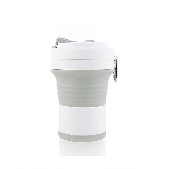 550ml foldable silicone coffee cup in grey/white color