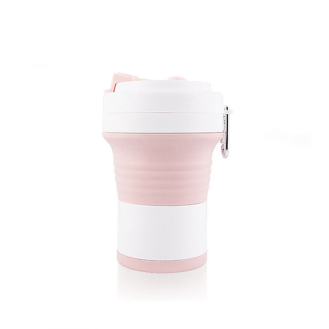 550ml pink foldable silicone coffee cup