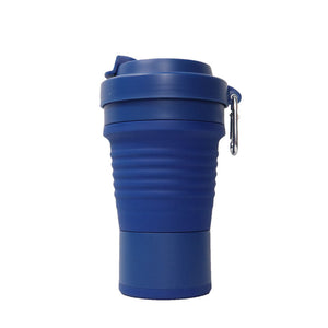 750ml collapsible silicone coffee cup in dark blue