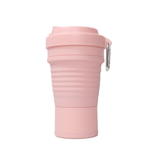 750ml collapsible silicone coffee cup in pink