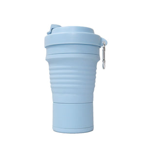 750ml collapsible silicone coffee cup in sky blue