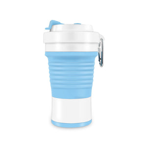 750ml collapsible silicone coffee cup in blue/white color