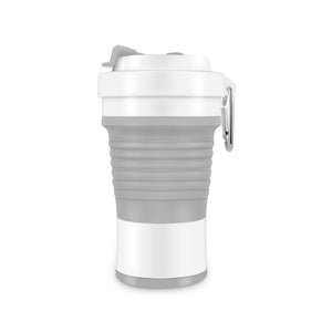 750ml collapsible silicone coffee cup in grey/white color
