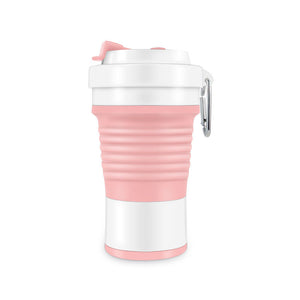 750ml collapsible silicone coffee cup in pink/white color
