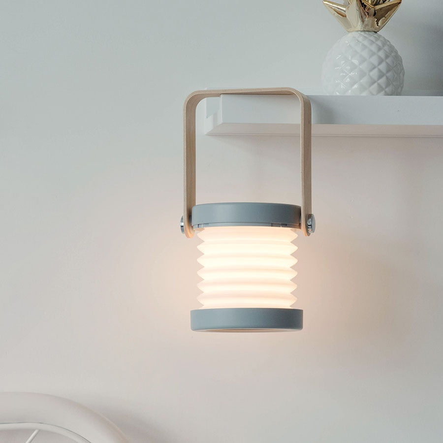 Foldable Modern Lantern Lamp with 360° Rotatory Wooden Handle
