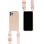 biodegradable silicone iphone case with crossbody strap in pink
