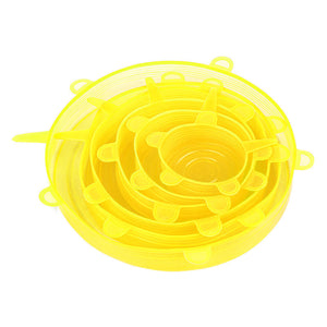 Reusable silicone strechable food covers in yellow, 6pcs a set