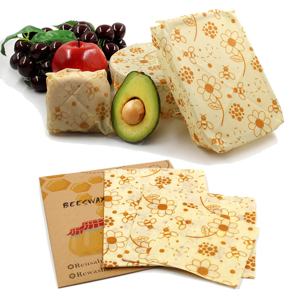 Reusable beeswax food wraps are available in 3 different sizes