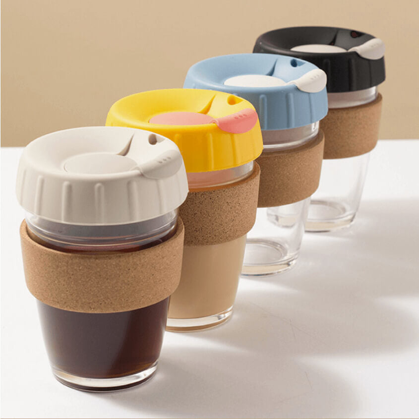 Reusable coffee cup and coffee filter kit in 4 different colors