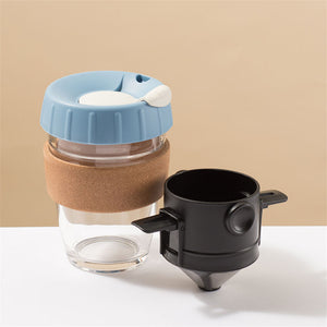 Reusable glass coffee cup with foldable coffee dripper, blue