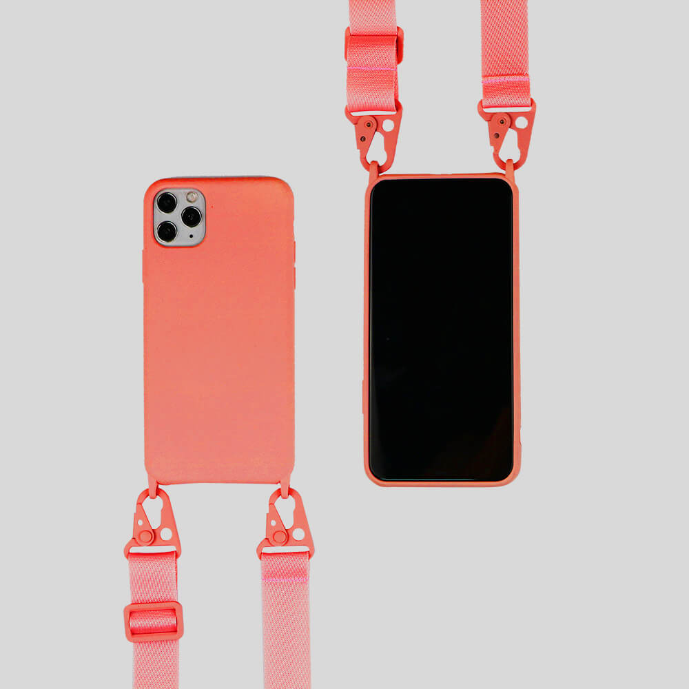 biodegradable silicone iphone case with crossbody strap in orange