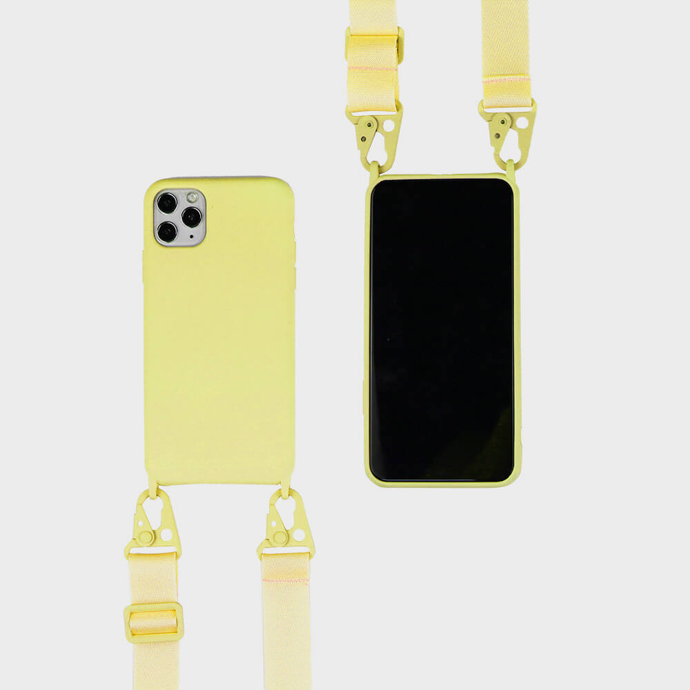biodegradable silicone iphone case with crossbody strap in yellow