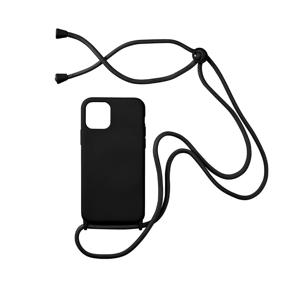 biodegradable silicone iphone case with adjustable string in black