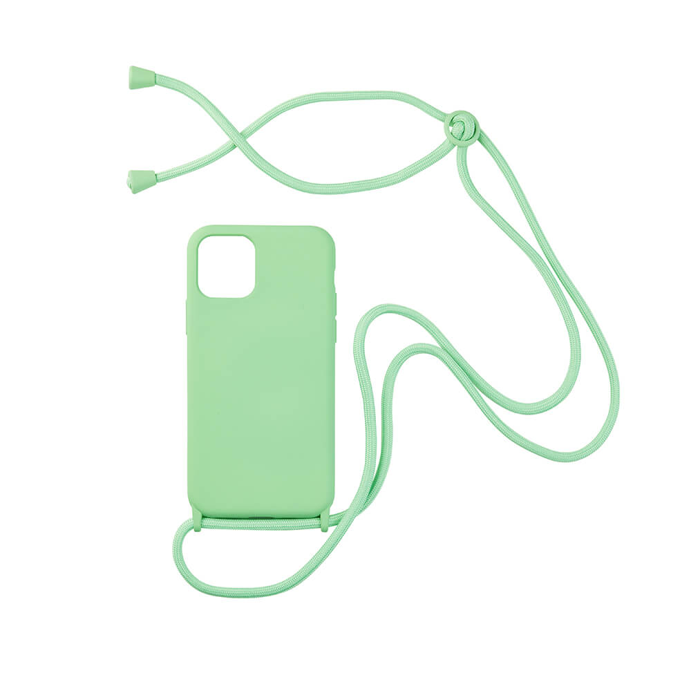 biodegradable silicone iphone case with adjustable string in green