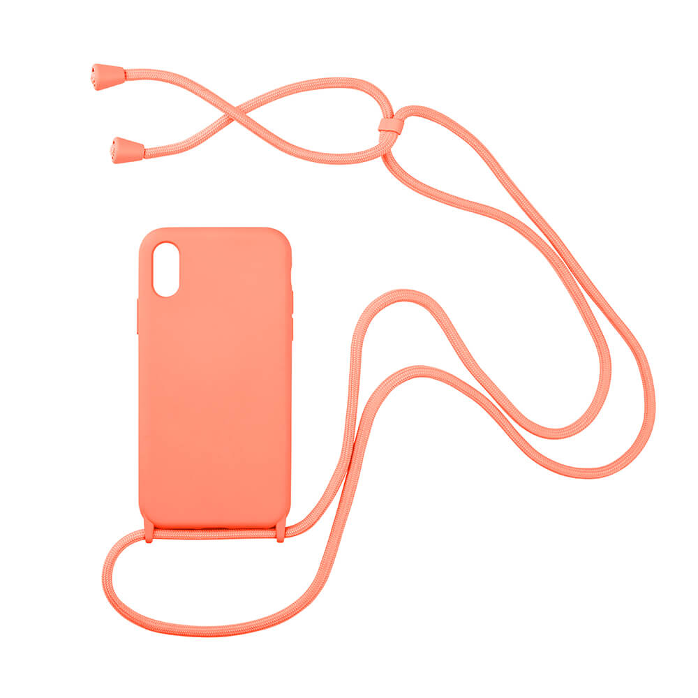 biodegradable silicone iphone case with string in pink