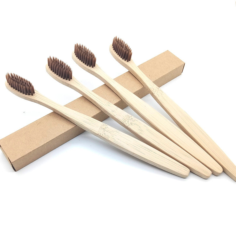 The real shot of brown bamboo toothbrush