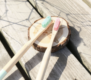 The real shot of bamboo toothbrushes in pink and green colors