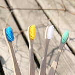 natural bamboo toothbrush in 4 different colors
