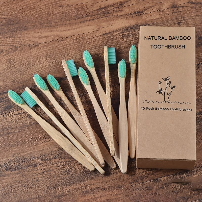 natural bamboo toothbrush for adult in green color