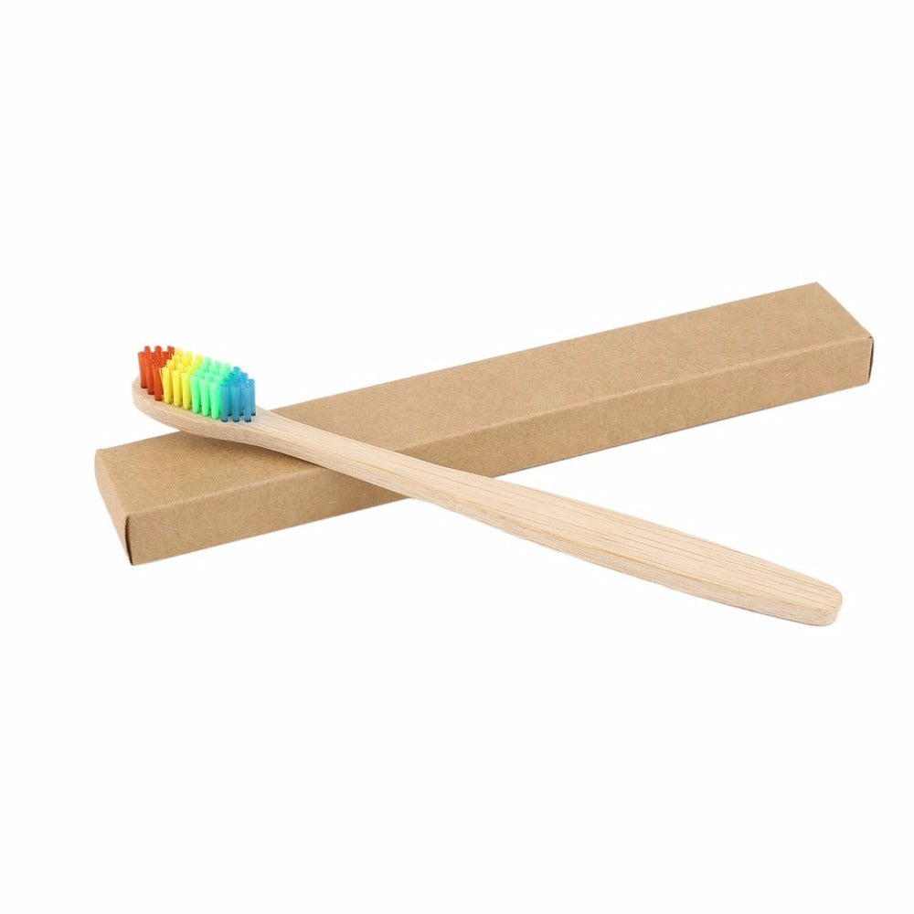 Natural bamboo toothbrush in rainbow color