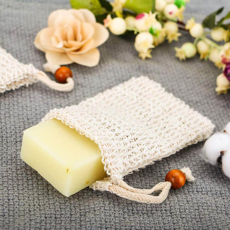Natural sisal fiber soap saver bag with drawstring design