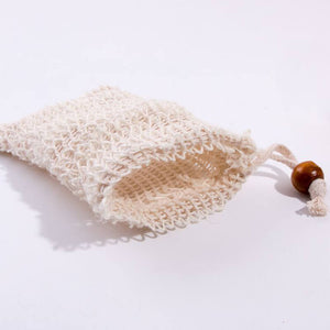 Natural sisal fiber soap saver bag closeup