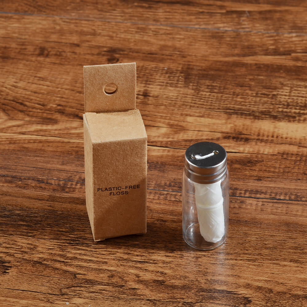 Plastic free corn dental floss with recyclable kraft paper box