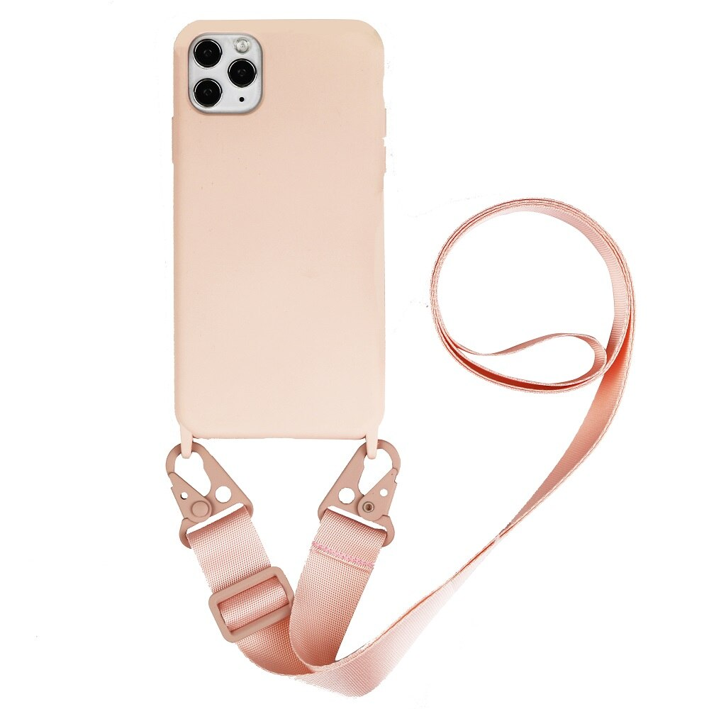 Biodegradeable pink silicone iphone case with adjustable strap