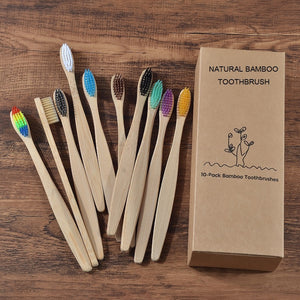 The color display of 10pcs bamboo toothbrushes with plastic-free cartboard packing