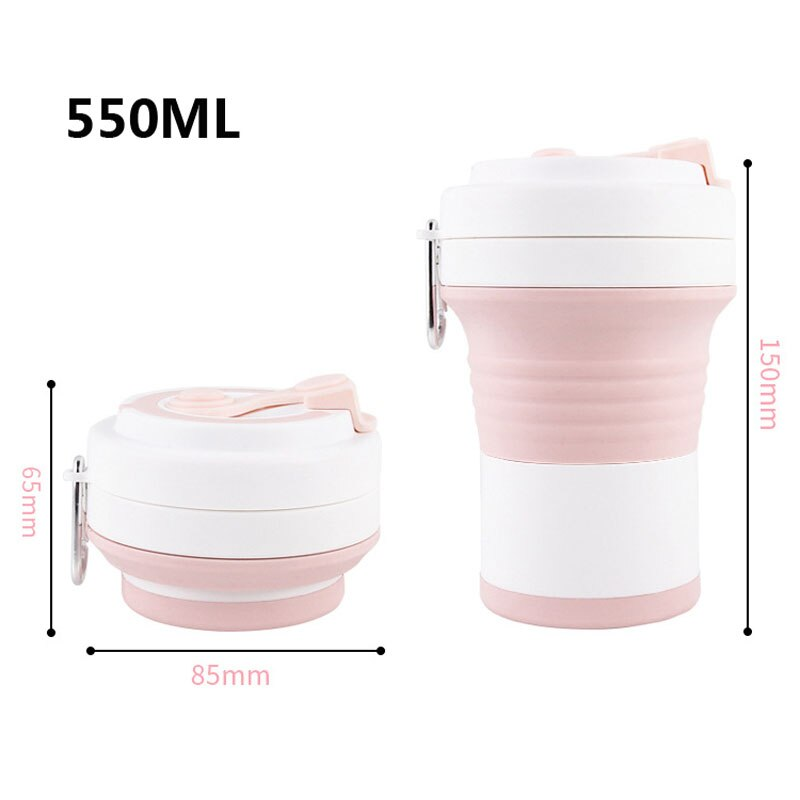 The folded and unfolded sizes of the silicone coffee mug