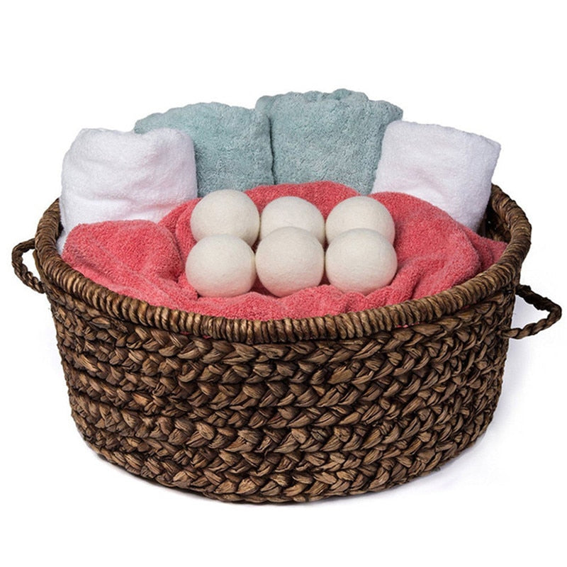 Reusable organic wool dryer balls for laundry