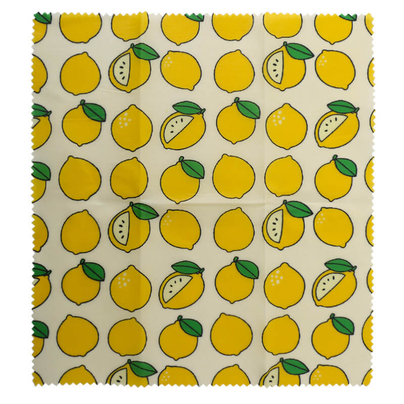 Reusable beeswax food wraps with lemon pattern
