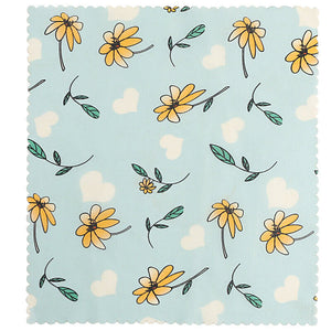 Reusable beeswax food wraps with little flower pattern
