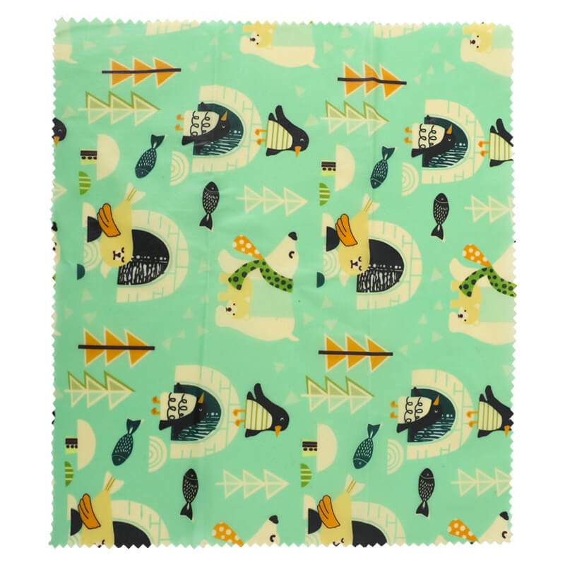 Reusable beeswax food wraps with polar bears pattern
