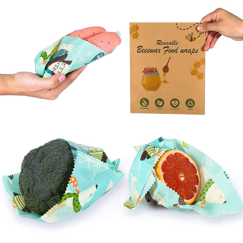 Reusable beeswax food wraps with recyclable package