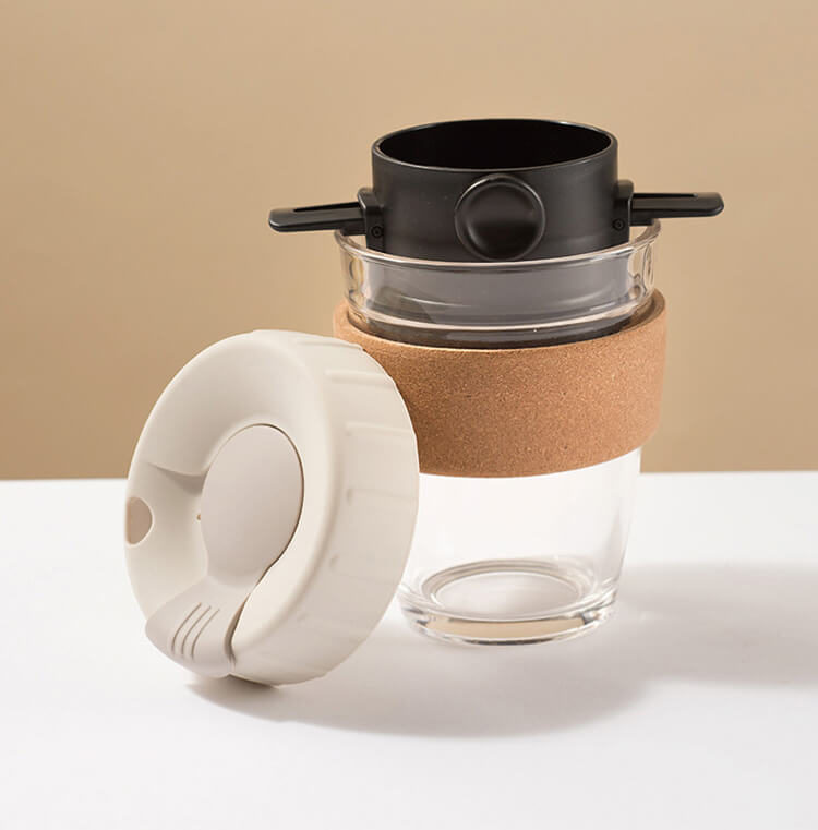 reusable coffee cup with foldable coffee filter set
