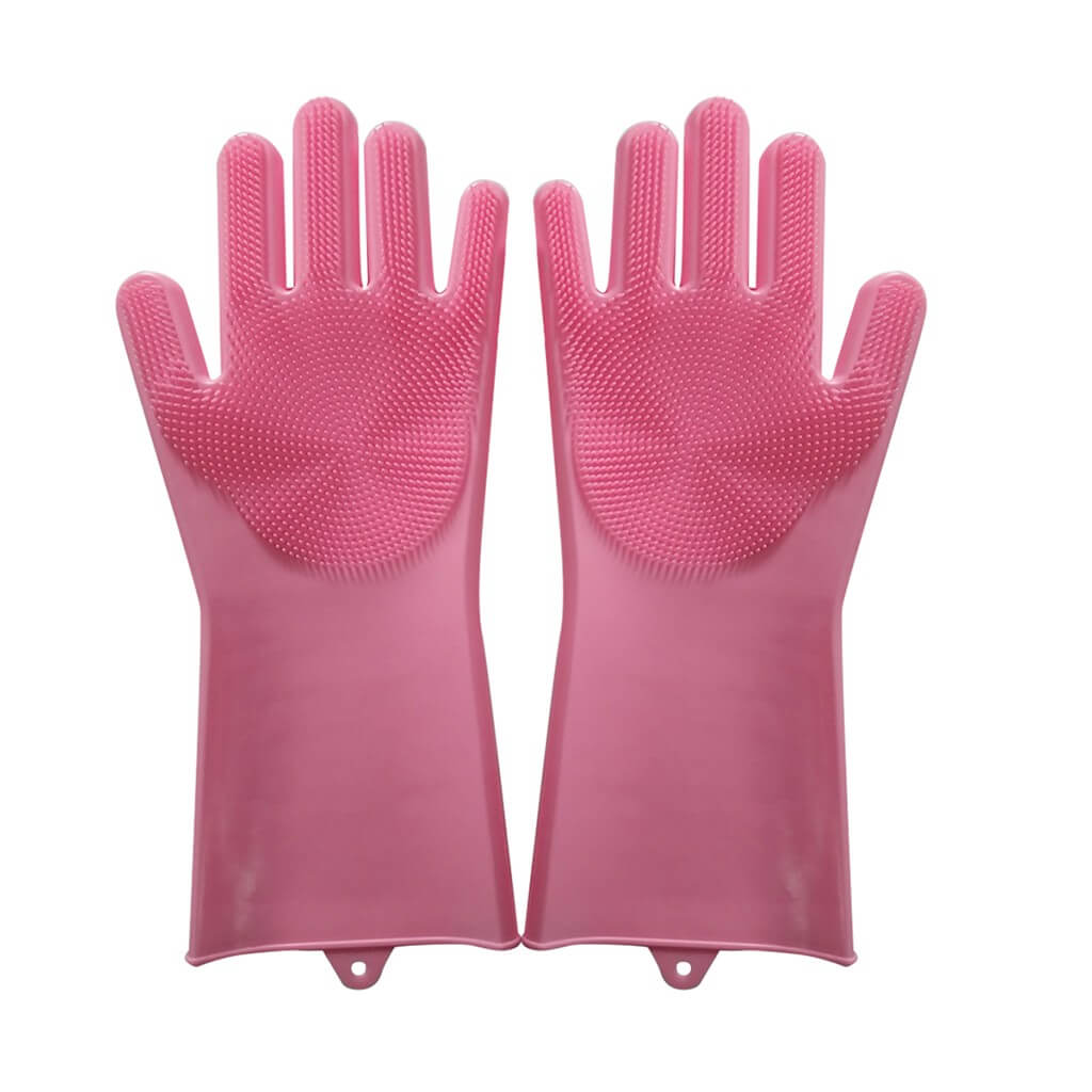 Silicone cleaning gloves in pink