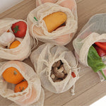 Reusable cotton mesh bags for produce storage