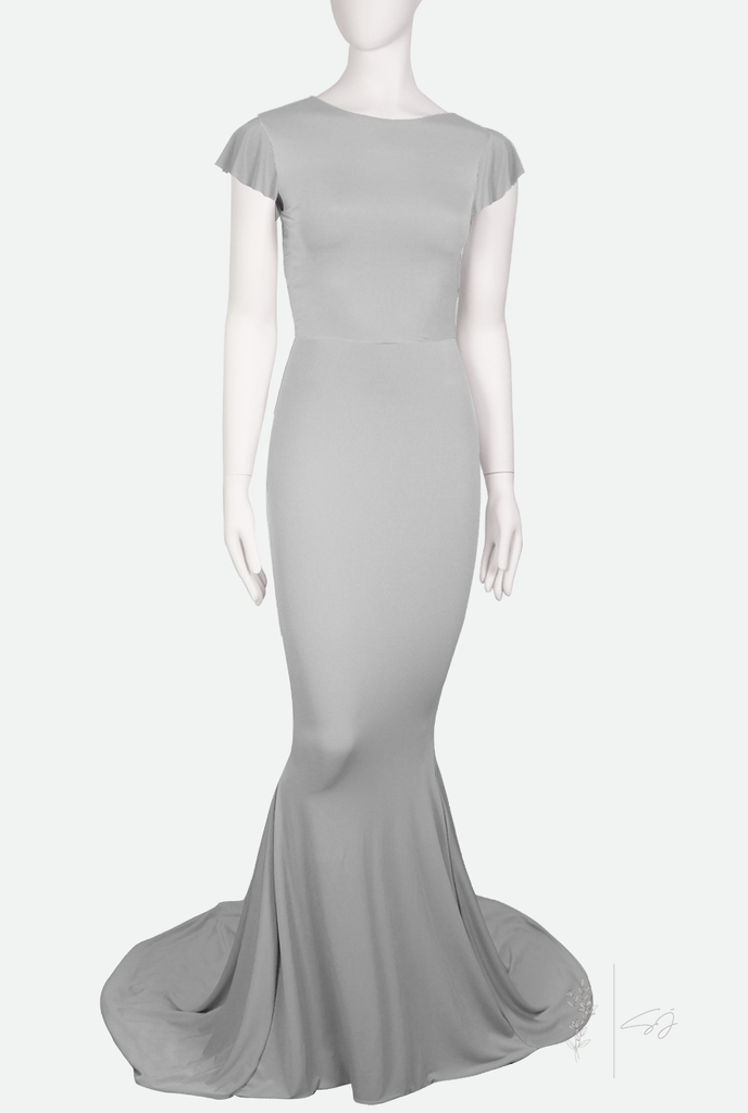 AURA ✶ ANGEL SLEEVE ✶  FISHTAIL GOWN WITH TRAIN