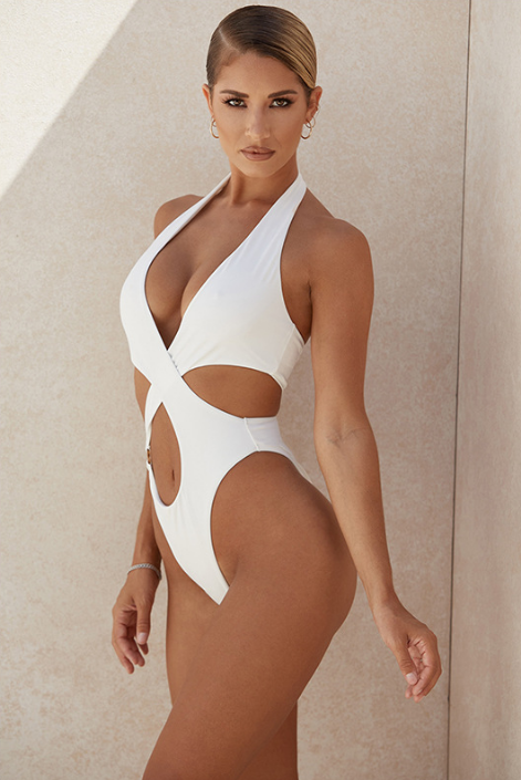 white Hollow Cross One-Piece Swimsuit - The Woman Concept