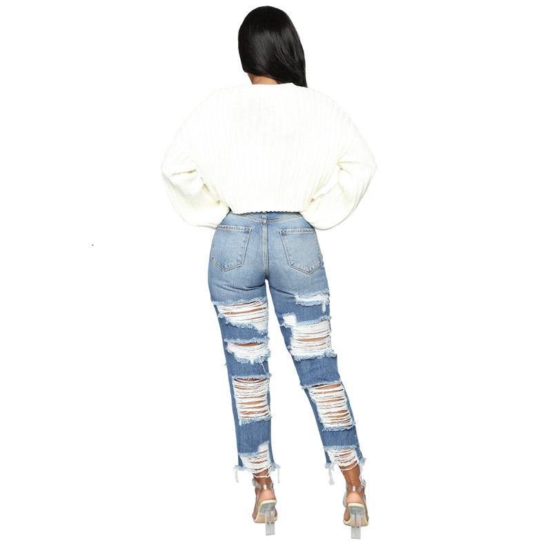 custom high-rise ripped jeans - The Woman Concept
