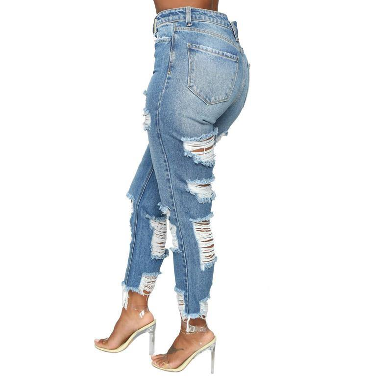 custom high-rise ripped jeans