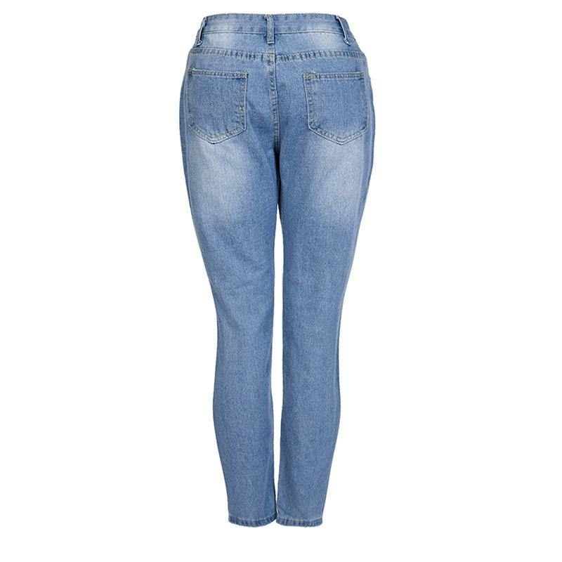 stretch hole pencil jeans