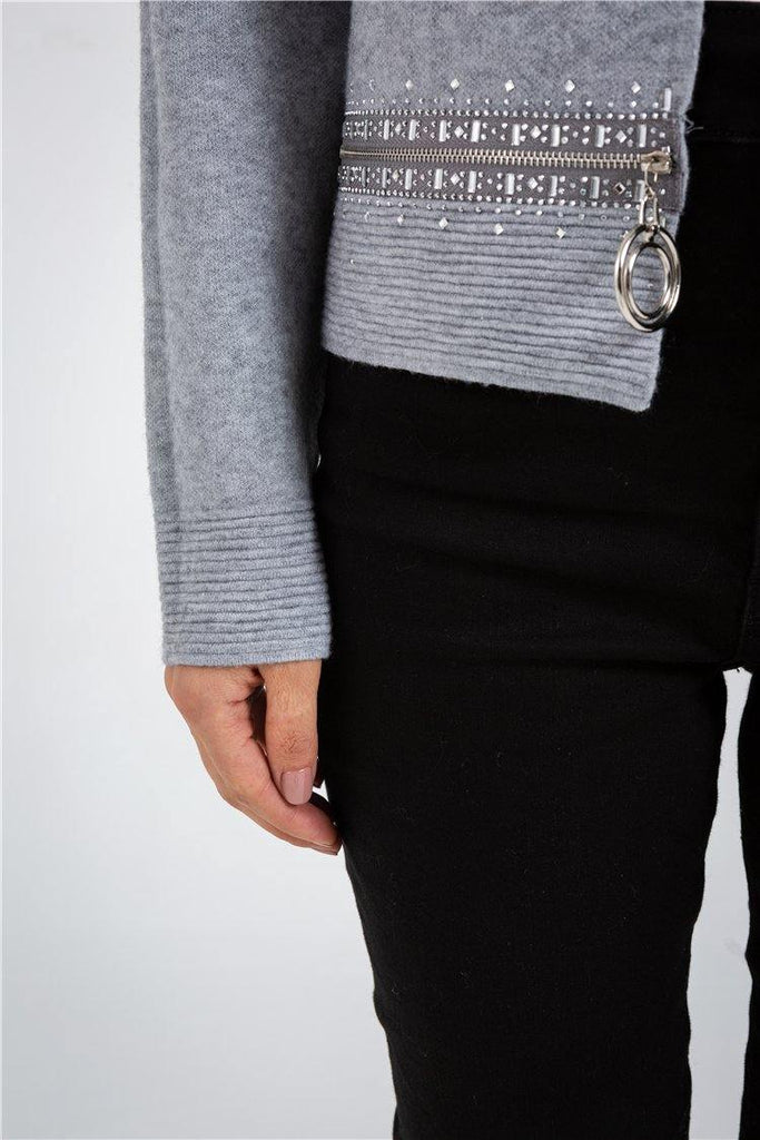 Grey Cardigan With Button Sweater