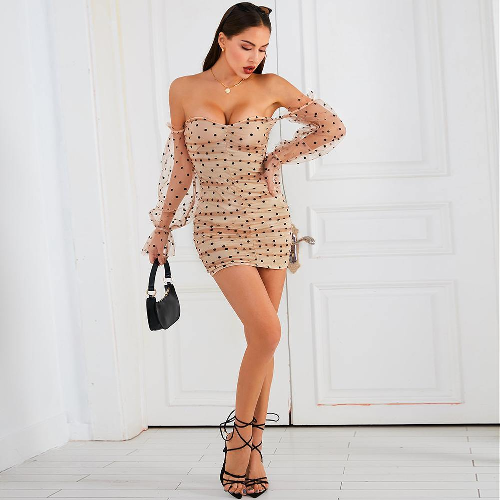 Off Shoulder Mesh Dot Wrap Dress.