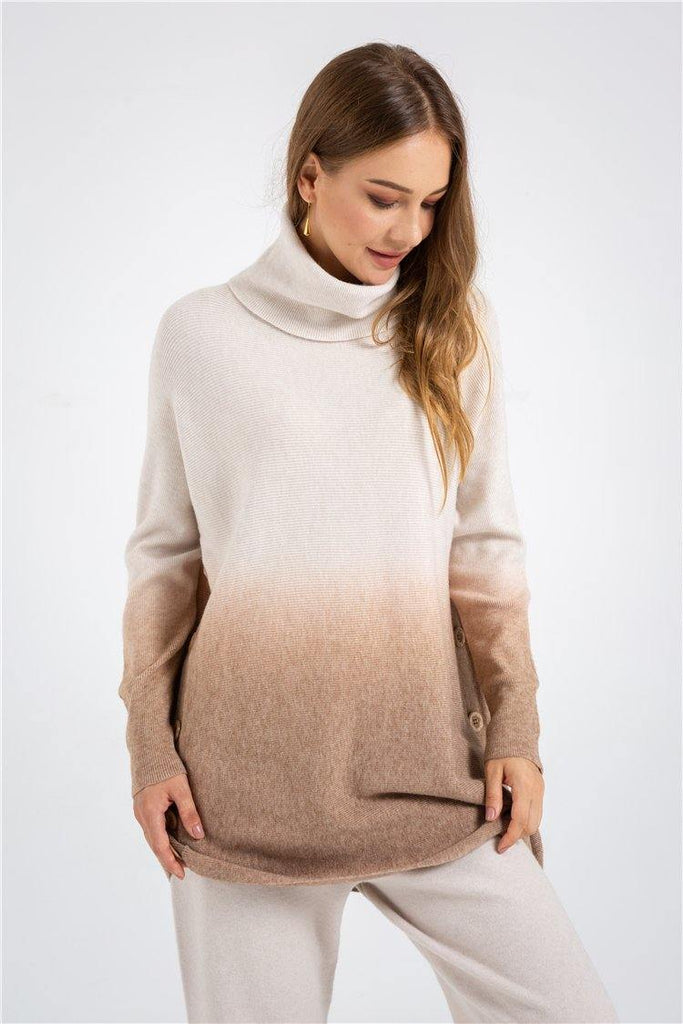 Grey Brown Dip Dye Knitted Sweater