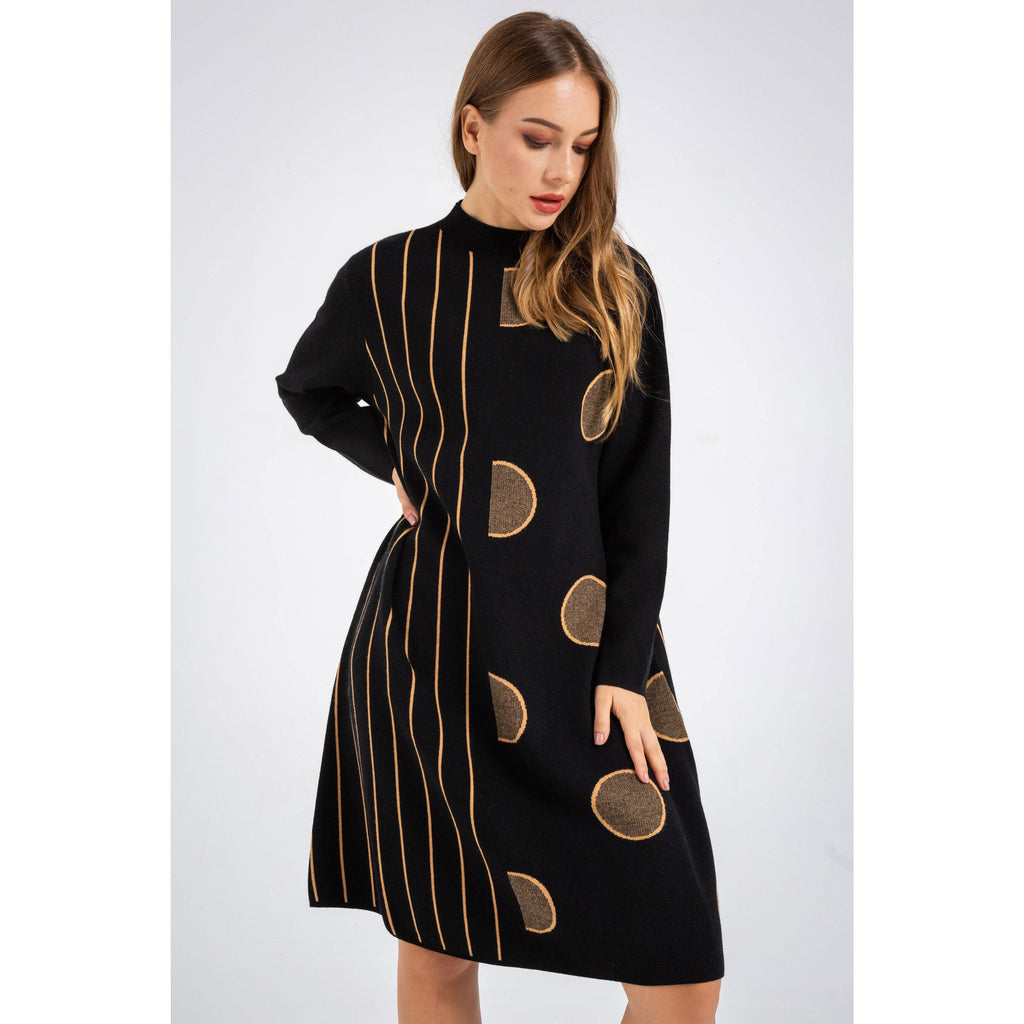 O-neck Long Sleeve Sweater Dress - The Woman Concept