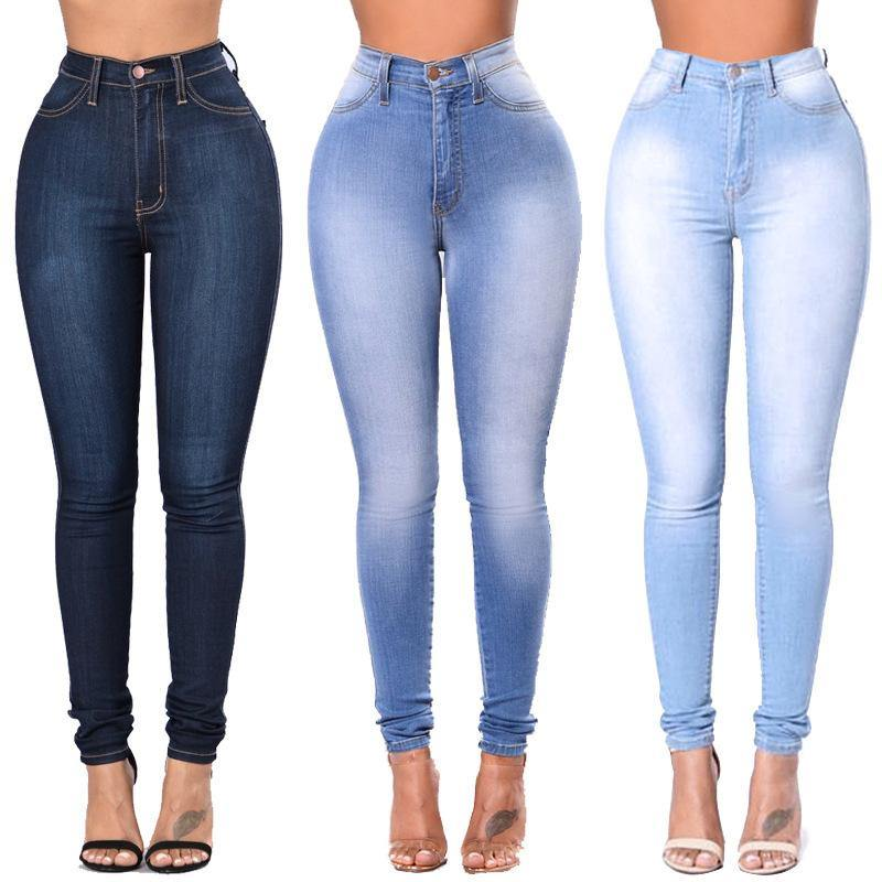 Stretch High Waist Casual Slim Jeans - The Woman Concept